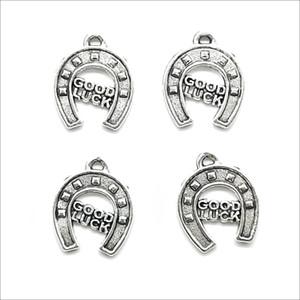 Lote 100 pcs boa sorte ferradura antiga encantos de prata pingentes DIY descobertas de jóias para jóias fazendo Brincos de colar de pulseira 14 * 17mm
