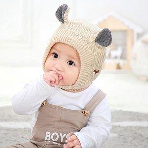 Baby Hats 1-3 Years Boys Girls Bonnet Winter Warm Thicken Hats Kids Infant Boy Cute Ears Knit For Children Girl Beanie Muts