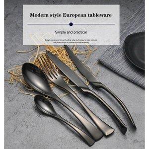 Роскошные черные столовые приборы набор из нержавеющей стали западная еда посуда наборы вилкой стейк нож чайной ложки ужина набор ужина 4шт / 5шт yhflu