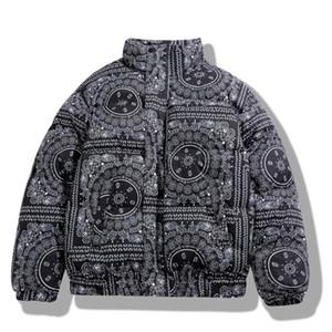 Inverno acolchoado jaquetas casaco bandana paisley padrão jaqueta parka homens hip hop streetwear grosso windbreaker harajuku