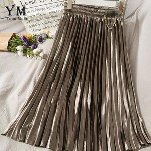 YuooMuoo Chic High Waist Chains Design Pleated Skirts Autumn Winter Korean Ladies A Line Midi Skirts Vintage Velvet1