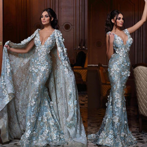 Amazing Lace Mermaid Evening Dresses With Long Jacket Beaded Neck Prom Gowns Plus Size 3D Appliqued Formal Dress robes de soiree