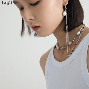 Hangzhi Niche Design Natural Baroque Multiple Wearing Methods One Ear Chain Pearl Necklace Jewelry for Women Girls Gifts