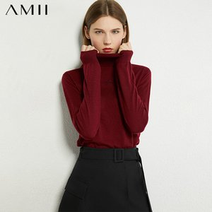 AMII Minimalism Autumn Fashion Women Sweater Embroidery Turtleneck Slim Fit Women Pullover Causal Female Sweater Tops 12040494 201123