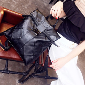 Women's Backpacks Shoulder Bag Girls Genuine Leather Panelled School Bag Female Casual Travel Handbag Bags Free Shipping
