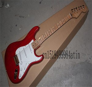 Free shipping Top quality red ST Flame maple guitar Golden Hardware custom body Electric Guitar in stock