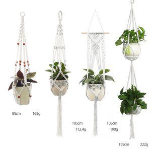 Fiore cesto appeso Vintage Handmade Macrame pianta Flower Pot corda del cotone Balcone Fiorista Hanger Decoration Planter
