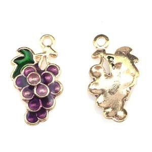 5pcs lot Light Gold Purple Enamel Grape Fruit Pendant Jewelry Finding Making 22225 5pcs lot Light Factory Direct jllBFf