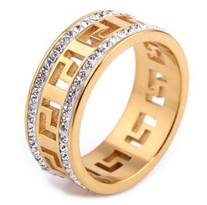 Retro Golden Link Ring Mens WatchBand Design Tennis Ring Men Rings Gold Hollow Out With Micro Pave CZ Stone Diamonds