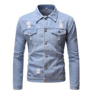 Veste courte en denim Slim Style décontracté Rétro Denim Coat Mens Hip Hop Blazer Streetwear pour hommes
