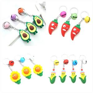 4 стиля мультфильм фрукты брелок милый авокадо чили кукурузные овощи брелок для женщин мужчины мужская цепь цепь автомобиля кольца ювелирных изделий подарки
