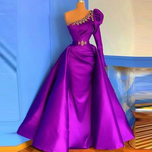 One Shoulder Formal Evening Dress 2020 With Detachable Train Purple Prom Dress Overskirts robe de soirée
