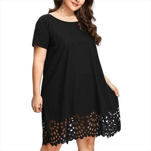 Plus Size Dress Women Summer Dress Short Sleeve O Neck Hollow Out Casual Solid Color Loose Beach Dresses Party Dresses Vestidos