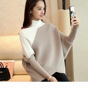 Wholesale- 2017 Autumn Winter New Women Turtleneck Sweater Batwing Sleeve Pullover Thickening Loose Fashion Sweater Women Q1825