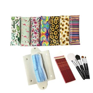 Storage Bags Sunflower Cactus Case Portable Dustproof Protective Mask Cover Striped PU Leather Masks Organizer Bag DHB2557