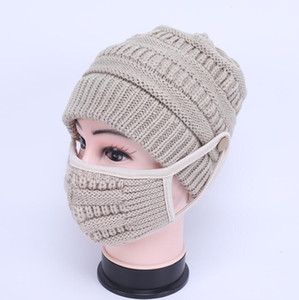 2pcs set Knitted Beanies With Face Mask Winter Reusable Washable Face Masks Knitted Caps Cycling Masks Party Supplies Party Hats CCA12661