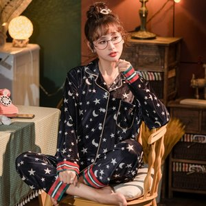 Gold velvet pajamas women spring and autumn thin long sleeve cardigan