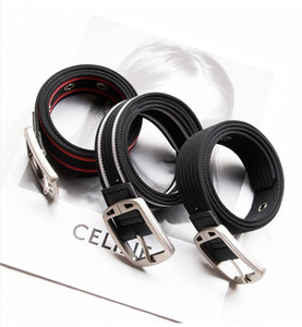 men designers belts fashion belt women belts 3.2cm buckle canvas belt outdoor striped belt waistband 4color boutique Cheap NEW CZ1124D