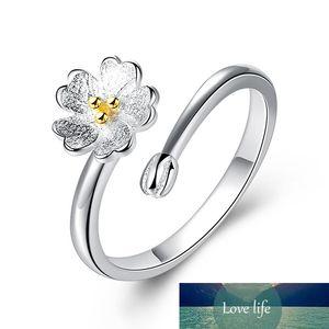 925 Sterling Silver Pink Flower Daisy Cherry Blossom Anillo de Dedo Para Mujeres Compromiso Joyería De Moda VRS2290