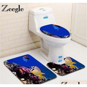 Oceano subacqueo world stampato bagno tappetini da bagno set microfibra tappetini per pavimenti in microfibra tappeto igienico tappeti piedistalli coperchio toi qyldie giardino2010
