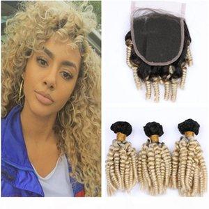 Sarışın Ombre Aunty Funmi Perulu Bakire Saç Üst Kapatma Ile Örgü Örgüleri # 1B 613 Sarışın Ombre Romance Kıvırcık Saç Ile 4x4 Dantel Kapatma