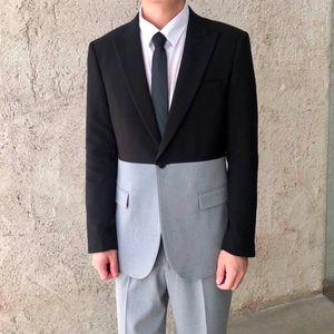 2020 Black Half Gray Designer 2's Smoking Homme Social Business Smoke Suit for Hombre Skinny Adjustment Poty