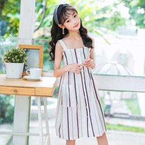 2020 Summer New Princess For White Button Fashion Big Dress Kids Cute Baby Girls Dresses Pockets Sundress Q1118