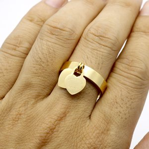 stainless Steel 18K gold plated heart famous Brand jewerly love cuff ring for woman man couple gift