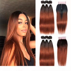 Bicolore Ombre Auburn brésilienne Virgin Hair Weave 3 Bundles avec fermeture 1B 4x4 dentelle 33 Black Roots Raw Human Hair Extensions Pré-couleur