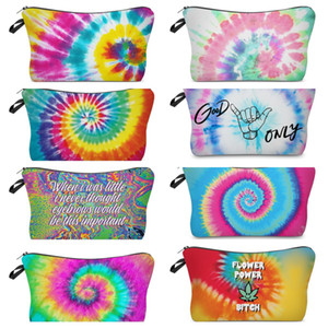 Fashion Tie-dye Makeup Bag Zipper Cosmetic Pouch Letters Print Pencil Case Handbag Travel Storage Tote Wallet Make Up Brush Wash Bag E120406