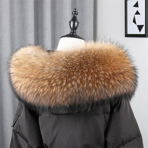 Fashion Luxury 100% Real Natural Raccoon Fur Color Unisex Down Coat Hood Trim Fur Collar Winter Warm Scarf Genuine Scarves Wrap1