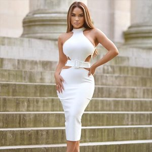 White Bandage Dress 2020 Summer New Arrival Women Sexy Midi Bandage Dress Bodycon Club Celebrity Evening Party