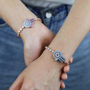 Two Tone Color Tennis Chain Bracelet Iced Out Hip Hop Purple Blue Cz Bangles Jewelry For Fatima Hamsa Hand Adjustable Bracelet