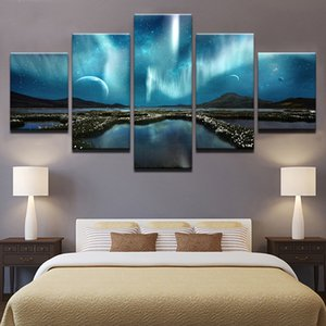 5 Piece Wall Art Painting Starry Night Sky Prints On Canvas The Landscape Pictures for Home Modern Decoration Print Decor for Living Room
