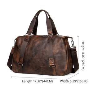 HBP WESTAL Travel Duffel Bag For Men Large Capacity Genuine Leather Men Travel Bags Carry On Luggage Bag Man Vintage Overnight 1149