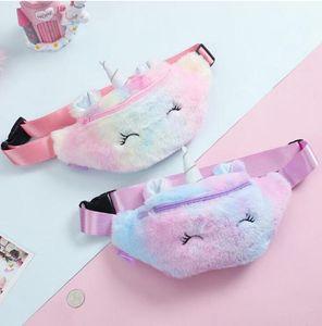 HOT Unicorn Plush Waist Bag Cute Cartoon Kids Fanny Pack Girls Belt Bag Fashion Travel Phone Pouch Chest Bag Storage Bags