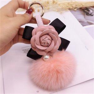 Korea Creative Bow Camellia Keychain Bag Pendant Lady Fur Ball Keyring Car Keychain Pendant Fashion Ornament