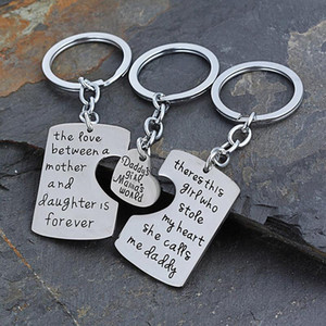 3pcs set Mom Daddy Girl Who Stole My Heart Love Between Mother Daughter Key Chains Ring Fob Keyring Keychain Family Gift