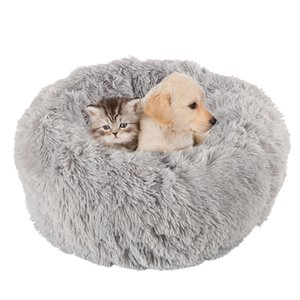 Длинные плюшевые мягкие домашние собаки кровать серый круглый круглый кот зима теплые спальные кровати сумка щенка собака подушка коврик портативный домашние животные поставки