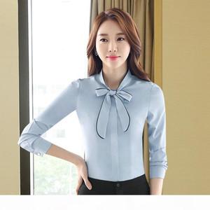 Women Blouses Fashion Bow Tied Neck Shirt Long Sleeve Work Tops Shirts Vintage New Chiffon Blouse Female