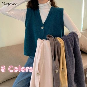 Women's Vests Sweaters Vest Women Kitting V-Neck Sleeveless Single Breasted Solid Outwear Autumn Tops Korean Style Chic Loose Casual All-mat