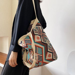 Lady Knitting Gypsy Bohemian Boho Chic Aztec Tote Bag Women Crochet Woolen Open Shopper Top-handle Bag 2020 Female Daily Handbag