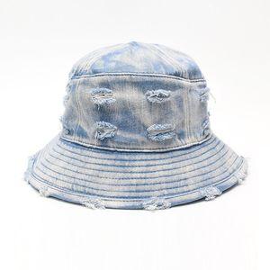 Washed Denim Bucket Hat Women Men Damage Broken Cowboy Wide Brim Beach Sun Cap Ladies Fishing Hats Fisherman Cap Panama Pop Hip Hop Summer