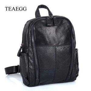 TEAEGG Women Cow backpack Female Real Genuine Leather stitching multi-purpose Shoulder Bag Lady Rucksack