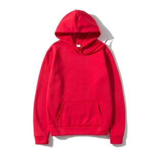 Woman hoodie sweatshirt fashion solid color red black gray pink hoodie jump wool men's hooded