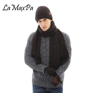 LaMaxPa New Fashion Solid Thicken Man Scarf, Hat & Glove Sets 3Pcs Striped Knitted Winter Warm Beanis Wrap Dropshipping Y1128