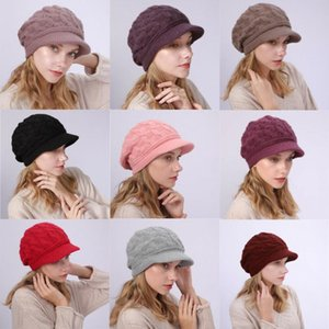 Volksfrau Peaked Cap Wollhut Strick Winter gebürstet Wärme Kappe 10 Farben Winterhüte für Frauen