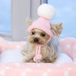 Handmade Pink Ring Bells Knitted Kawaii Store Warm Lovely Dog Hats for Small Pets Cats Maltese Yorkie Winter Cap