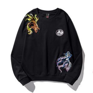 Guochao chinesische Stickerei drucken Casual Crew Hals Pullover Mantel Herren Trend vielseitig Pullover Top