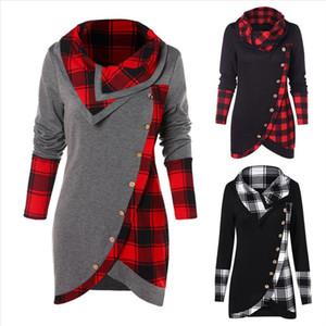 Fashion T Shirt Women Long Sleeve T Shirts Plaid Turtleneck Tartan Tunic Pullover Tops Casual Female Sweatshirt guahao